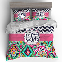 Monogrammed Navy Chevron and Paisley Preppy Bedding Set