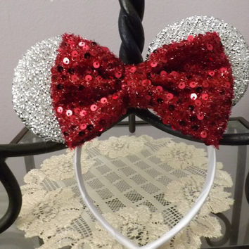 minnie mouse ears headband silver sparkle ears red Sequin Bow Mickey Mouse Ears, Disneyland, Disney World