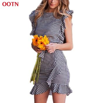 OOTN Women Black White Plaid Dress 2018 Summer Ruffle Mini Dresses Female Short Sleeve Sundress Gingham Waist Bow Tie Casual
