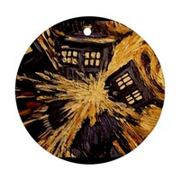 Doctor Who Tardis Vincent Van Gogh Ornament (Round)