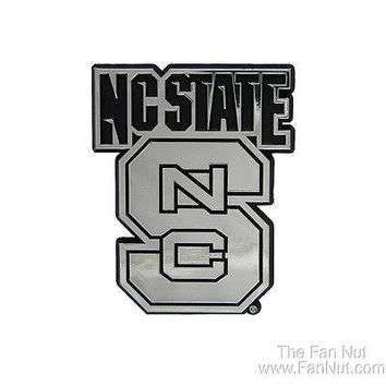 North Carolina State Wolfpack Silver Chrome Color Auto Emblem Decal University