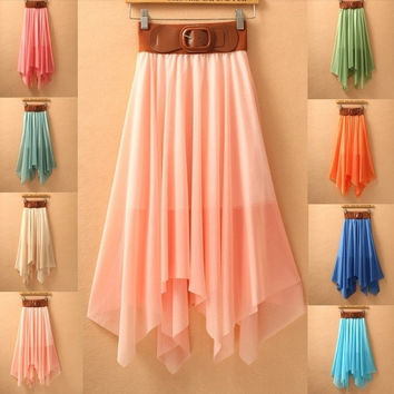 Long Skirt with Asymmetrical Hem (One Size) (Color Pink) = 1946640004