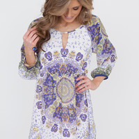 Eyes on You Printed Keyhole Dress - Purple Multi