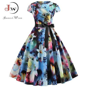 Women Vintage Dress Summer Floral Print Short Sleeve Dresses 50s 60s Office Party Rockabilly Swing Retro Pinup Plus Size