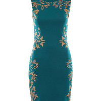 MeMe Teal and Gold Baroque Floral Side Bodycon Dress