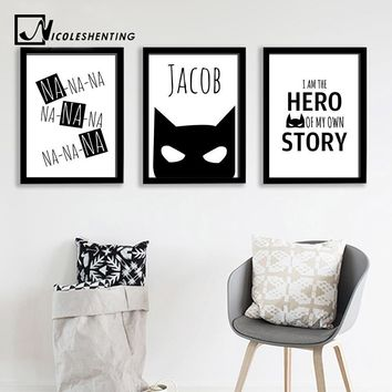 Batman Dark Knight gift Christmas Batman Mask Wall Art Canvas Print Personalized Name Custom Poster Nursery Quote Painting Nordic Picture Kids Room Decoration AT_71_6