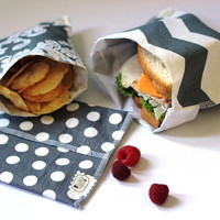 Reusable Ecofriendly Sandwich Bag and Snack Bags - Shades of Grey - set of 3 - back to school 2013