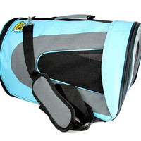 Soft Sided Pet Travel Carrier For Dogs, Cats & Birds - 18'' x 11'' x 10'' - Blue Color
