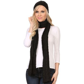 Sakkas Aaric Unisex Cable Knit Pom Pom Bobble Beanie Hat And Scarf Set