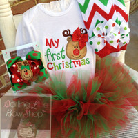 Baby Girl or Boy Christmas bodysuit - My First Christmas - red, lime and emerald green reindeer- with or without bow
