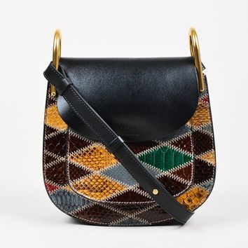 "Chloe Black, Green, and Maroon Leather Python ""Hudson"" Bag"