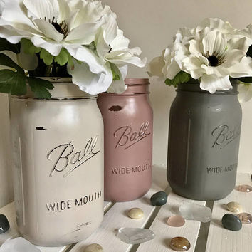 Wedding Centerpiece - Mason Jar Crafts - Rustic Mason Jar - Gift For Her - Wedding Gift - Housewarming gift - Farmhouse Decor - Grey - Pink