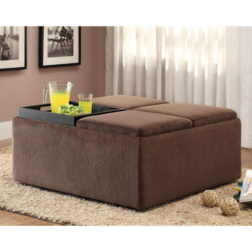 Homelegance 468CP Cocktail Ottoman w/ Casters in Chocolate Textured Plush Microfiber