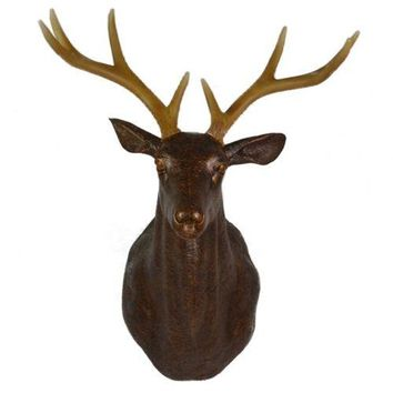 Large Size Plastic Deer Head Wall Hanging Decoration bronze