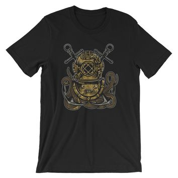 Cross Anchors Old School Deep Sea Diver Short-Sleeve Unisex T-Shirt