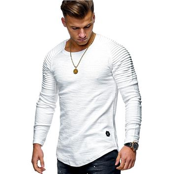 2018 New Fashion Men's Round Neck Slim Solid Color Long-sleeved T-shirt Striped Fold Raglan Sleeve Style T shirt Tops Tees T109