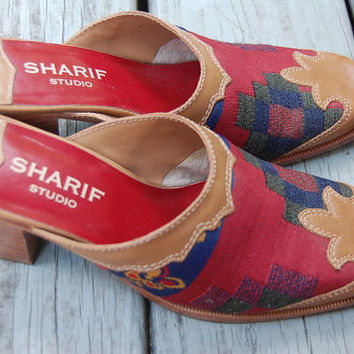 Vintage 90s Sharif Studio Kilim Tribal Aztec Southwest Western Cowgirl Slip On Leather Mules Shoes Booties Size 6.5 Medium