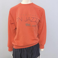 Vintage 1970's Gary Shivers on Jazz Sweatshirt WUNC 91.5 Public Radio Station NPR Crewneck Size Small Pink Coral Retro 1980's Design