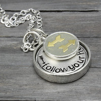 Follow Your Heart Necklace, Initial Necklace, Arrow Necklace, Inspiration Necklace, Handstamped Jewelry, Personalized Jewelry