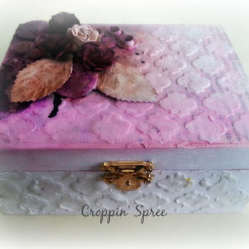 Handmade Shabby Chic Jewellery or Trinket Box. Steampunk Box. Tarot Card Storage. Wooden, Ornate. Layered with Paper, Paint and Hardware