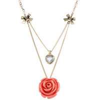 Betsey Johnson Cubic Zirconia Rose Petal 2-row Pendant Necklace | Overstock.com