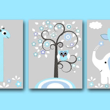 "Baby Boy Nursery art print Childrens Wall Art Baby Room Decor Kids Print set of 3 11""x14"" giraffe elephant owl tree grey blue"