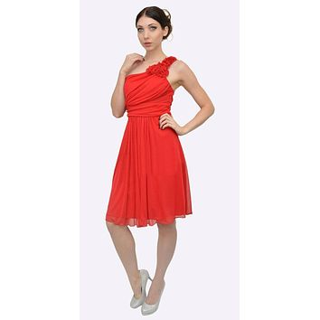 Red One Shoulder Chiffon Knee Length Bridesmaid Dress