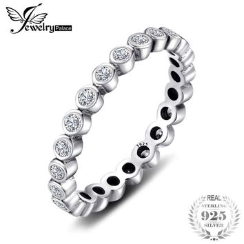 Jewelrypalace 925 Sterling Silver Cubic Zirconia CZ Stackable Eternity Ring Trendy Jewelry For Women Best Gift Hot Finger Ring