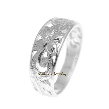 STERLING SILVER 925 HAWAIIAN PLUMERIIA FLOWER SCROLL CUT OUT RING SIZE 3 - 14