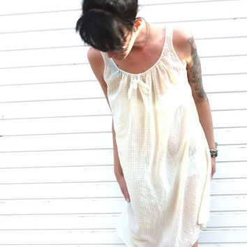 "60s lemon nightdress . bust 34"" 36"" . terylene + bri nylon nightie . bow detail . check pattern . sheer .  sweet dreams . summer loving"