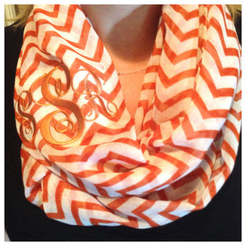 Chevron infinity scarf with custom monogram initials