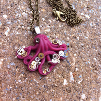 Steampunk Sargent Octopus Pendant Necklace - One of a kind - Clockparts - Watchparts - Watchmovements - Steampunk Jewelry