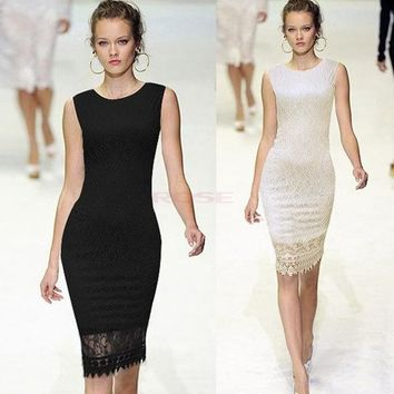 Women Elegant Tunic Lace Crochet Bodycon Shift Party Evening Career Pencil Dress SV001577 Vestidos = 5613064385
