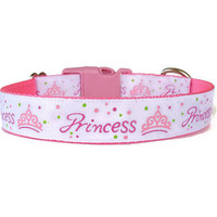 Pink Princess Girl Dog Collar - Adjustable - Nylon - (Buckle or Martingale)