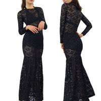Black Lace Long Sheer Celebrity Sleeve Sexy Long 11044 Mermaid Maxi Dress