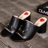 Gucci Women Fashion Casual Heels Shoes Slipper Shoes