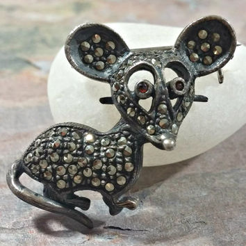 Early 1900s 925 Mouse Pin Marcasites Amber Glass Eyes Sweet Little Mouse Pin Reminiscent of the Victorian Era Mouse Jewelry Mice Collector
