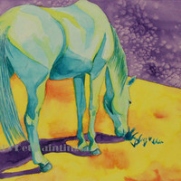 Watercolor Horse Fine Art Print, Limited Edition Giclee Blue Horse Painting