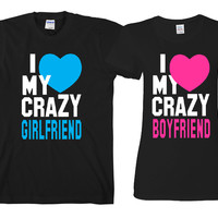 "I Love My Crazy BF - I Love My Crazy GF  ""Cute Couples Matching T-shirts"""