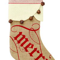 Burlap Merry Stocking by Mud Pie