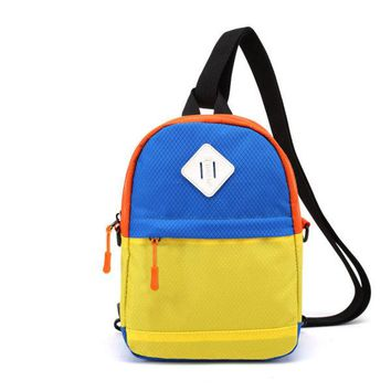 Children Small Shoulder Bags Contrasting Casual Backpack for Kindergarten Students