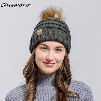2017 New Mink and Fox Fur Ball Cap Pom Poms Winter Hat for Women Girl Lady Hats Knitted Beanies Skullies Female Thickened Caps