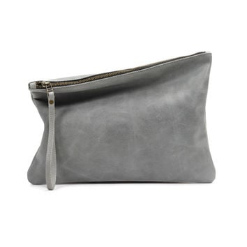 DISTRESSED Gray leather zipper bag, women evening bag, leather clutch by Leah Lerner