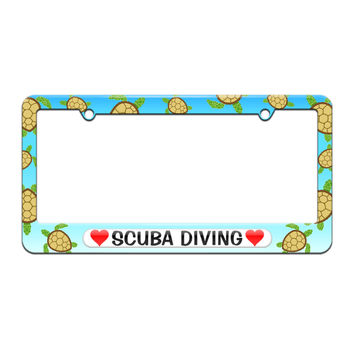 Scuba Diving Love with Hearts - License Plate Tag Frame - Sea Turtle Design