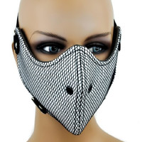 Black and White Fishnet Motorcycle Mask