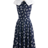ModCloth Vintage Inspired Long Cap Sleeves A-line Migrate to Montauk Dress
