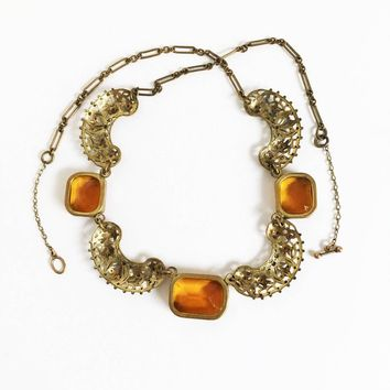 Autumn Orange Stone Bronze Crescent Filigree Link Choker, Vintage Art Nouveau Amber Color Bib Necklace
