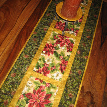 Christmas Table Runner, Red Poinsettias, White Flowers and Pine Cones