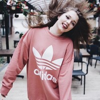 Adidas Women/Men Fashion Loose Pullover Sweatshirt