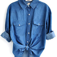 Blue Long Sleeve Pocket Denim Shirt with Print Back - Sheinside.com